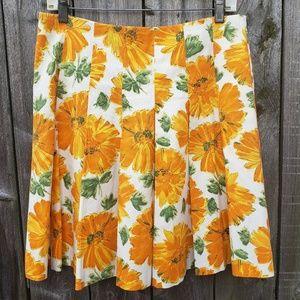 Retro Wild Sunflower Skirt Sze 42/6 Orange Pleated